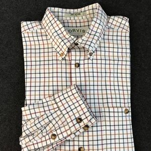 ORVIS Button Down Shirt Multi Checked Large TALL